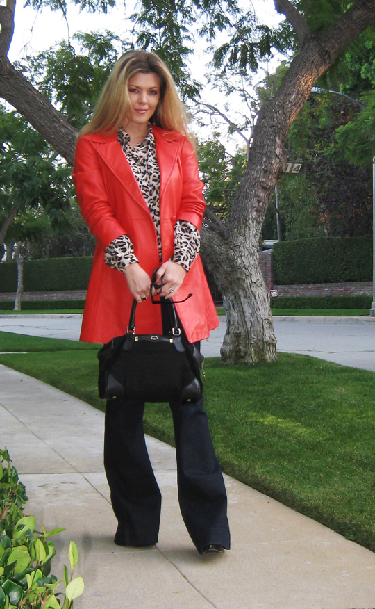 red and leopard and dark denim+vintage red coat+j brand jeans+flared jeans