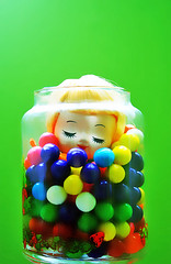 Gum Doll (boopsie.daisy) Tags: color cute doll candy head jar gumballs dollhead closedeyes bradleydoll moddoll 70sdoll gumballsonly