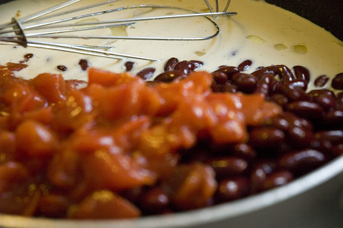 black beans, canned tomatoes, coconut milk