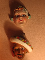 (carlafrances) Tags: california decorations shadow vintage antique kitsch plaster creepy mexican sombrero tacky davis chipped dutchgirl stringholders violentvisionsofsettingsail