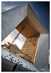 La Grande Arche de la Dfense (staffh) Tags: city urban paris france color building tower colors architecture facade skyscraper colours angle wide wideangle ladefense staff tall ultrawide ladfense density dfense grandearche urbanity grandearchedeladfence