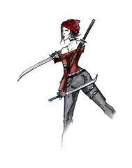 Fractal - Nassael Nia (Jugo de Naranjo) Tags: drawing ninja sword fractal dibujo espadas assasin nassael sesina