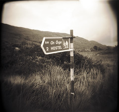 Hostel.ie (Buck Lewis) Tags: ireland blackandwhite bw 120 film sign hostel holga kerry blackvalley thephotoholic