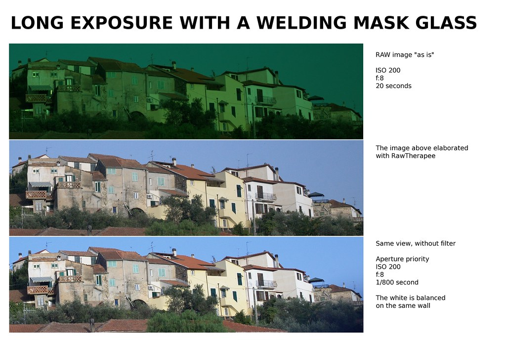 Welding mask glass used as ND filter - vetro per maschera da saldatura usato come filtro ND