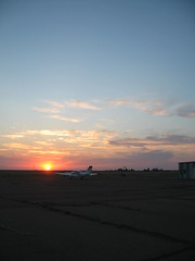 Panhandle sunset (funny strange or funny ha ha) Tags: school sunset oklahoma reunion airplane town airport memorial day all weekend small fabulous ok hooker prop panhandle 2010