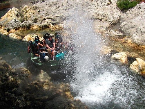 Grizzly River Run Riders getting soaked by a geyser