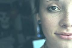 Hmmm (strawberryfeelings) Tags: selfportrait me self half freckles halfface greentint