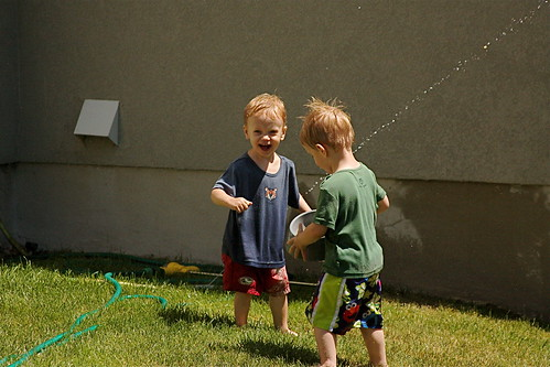 twins with sprinkler