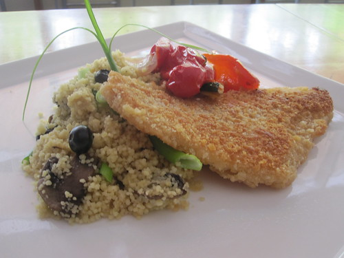 Crunchy filet of sole, couscous with mushrooms and blueberries, roasted veggies