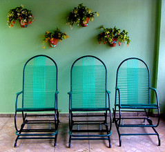 Three is Enough (osvaldoeaf) Tags: city flowers house green home nature wall three chairs symmetry rocking vases digitalcameraclub colorphotoaward