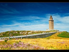 Torre de Hercules (Botond Horvth) Tags: ocean travel blue sea summer flower color building green tower tourism nature beauty architecture clouds de wonder landscape la photo nice interesting spain nikon europe torre place famous galicia nikkor 2010 coruna heracles d90 botond horvth spanyolorszg 1685mm