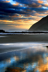 Morning (Daniel Murray (southnz)) Tags: sea newzealand sky cloud reflection beach sunrise landscape coast sand bravo scenery rocks waves hill nz southisland westcoast griegs 12milebeach superaplus aplusphoto southnz