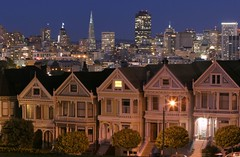 Classic San Francisco (A Sutanto) Tags: sf sanfrancisco california ca city longexposure blue houses sky urban usa house skyline architecture america lights evening twilight dusk postcard victorian clear hour paintedladies alamosquare mywinners abigfave aplusphoto goldenphotographer superhearts