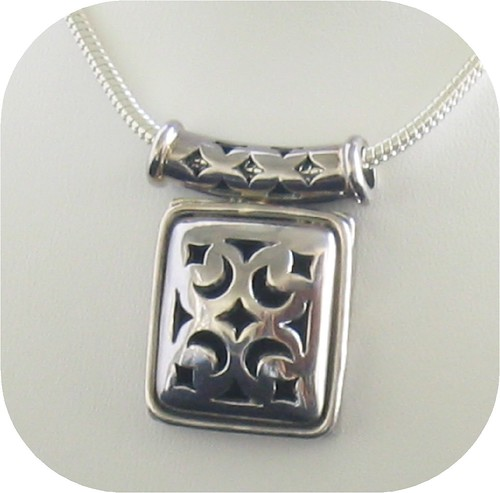 """18"""" Snake Chain and Fashion Sterling Silver Pendant"""