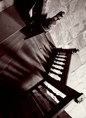 Tread gently; make not a sound (archidave) Tags: light bw white church monochrome abbey stair gallery floor timber interior steps angles balck herefordshire escher dore balustrade wooded shaow flagstones newelpost piranesian