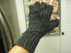 Fingerless gloves in progress