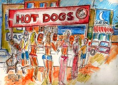 HOT DOG STANDS IN THE USA (roberthuffstutter) Tags: art beach japan paper creativity midwest or memories expressions drawings books canvas collection expressionism impressionism americana venicebeach impressions beatniks watercolors collectors sketches ideas emotions picnik penandink photogallery artcollectors mindseye insidethemind hotoffthepress galleryphotos oneimage photogalleries earlrstonebridge capturingmemories galleryphoto huffstutter roberthuffstutter fleetingimages huffstuttersart robertlhuffstutter contemporaryimpressionism impressionismart robertsgallery originalsavailable originalartavailable impressionismgenre artopinions impressionismthestraightskinny opinionsonart choosingthemedium storedimages assortedmixedmedium huffstuttersimpressionistgallery galleryofimpressionistart expressionismandimpressionism impressionistportfolio studyingimpressionism bobhuffstutter signedoriginalsavailable huffstutterswatercolorgallery orignalworkbyrlhuffstutter artandorphotosbyhuffstutter