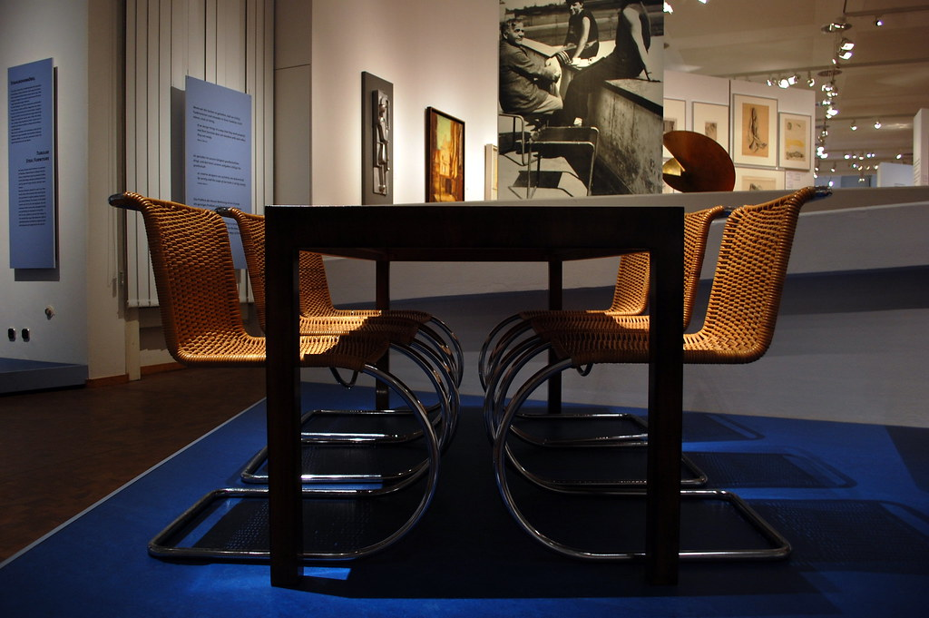Dining Table and Tubular Steel Chairs