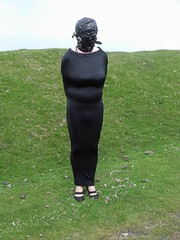 LEFT ENCASED (Miss Sandra Bond) Tags: long dress gothic bondage tight encasement hobble hobbleskirt hobbledress
