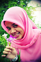 for the rest of my life.. (saifuddin's artwork) Tags: pink flower girl beauty smile lomo nikon sweet hijab lonely 1855mm lovely islamic cantik d5000