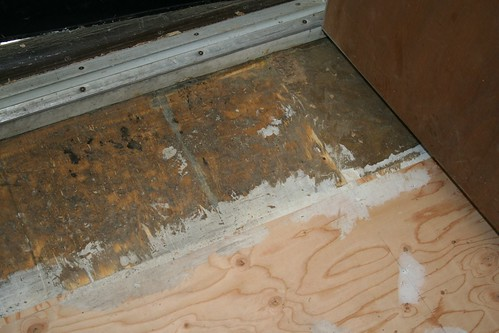 Old subfloor vs. new plywood :)