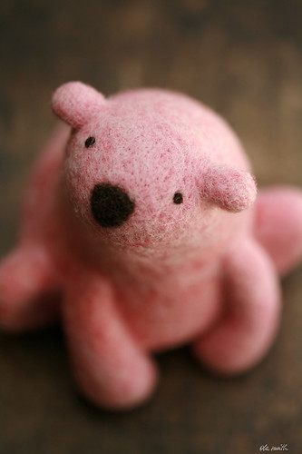 pink needlefelted polar bear