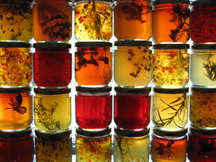 Stacks (robotgirl) Tags: red orange macro yellow amber novascotia herbs jelly jars multitude annapolisvalley preserves tangledgarden grandpr
