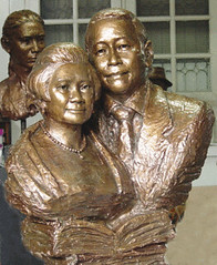 Sculpture of Thai Couple, Reproduction from photo, by Thai artist Santi Vipaka, Chiang Mai, Resin
