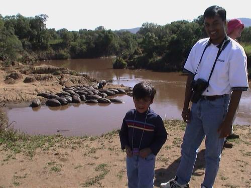 Mara Daddy Son with Hippos
