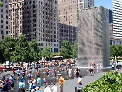 Crown Fountain in summer