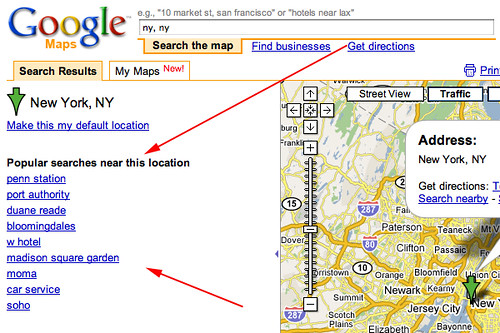 Google Maps Popular Searches