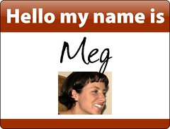 Meg's name badge