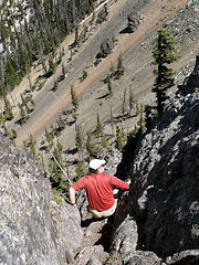 Ian working his way down Volcanic Neck, 7.29.07.