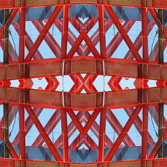 Construction site (Mimi_K) Tags: red abstract collage fdsflickrtoys singapore mosaic beams struts corneroforchardandpatterson
