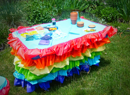 vinyl  table cloth ruffled remodel craft table rainbow birthday party finished
