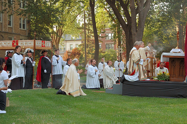 Cathedral Basilica of Saint Louis, in Saint Louis, Missouri, USA - Corpus Christi Procession - at Cathedral Towers