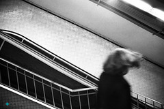Barcelona underground subway / Metro Barcelona (Jobopa) Tags: barcelona blackandwhite espaa film silhouette analog dark underground subway photography photo spain solitude foto image sinister escalator transport picture tunnel pic catalonia traveller ilfordhp5 figure mysterious catalunya soledad analogue silueta fotografia nikonfm2 imagen catalua transporte misterioso viajero espanya figura siniestro escaleramecanica imatge jordiboixareu