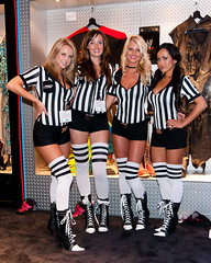 E3 2010 - THQ Booth Babes (Mr. Muggles) Tags: girls game girl booth la costume los referee raw expo angeles cosplay stripes center babe entertainment fantasy babes convention vs electronic wwe thq smackdown umpire ref boothbabe 2011 tamron1750