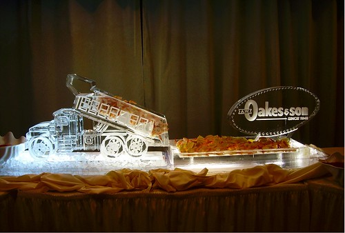 Dump Truck with Seafood and Logo ice sculpture