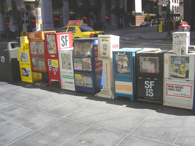 Newspaper boxes by Lulu Vision on Flickr.com