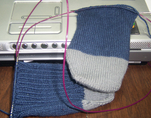 Ravenclaw Ribbed Sock Progress