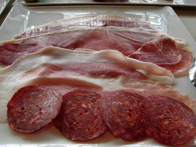 ham and salami tasting plate