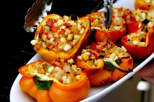 smoke-roasted stuffed bell peppers