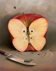 تفاح الأنوثة (تناهيد ليل) Tags: لوحة فراشة فنية تفاحة سكين أنوثة