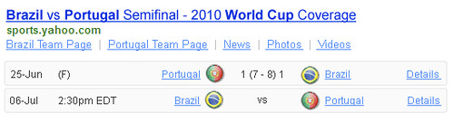 World Cup 2010 Match Yahoo Shortcut