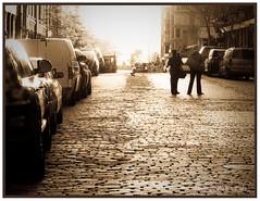 Let's take a long walk (#92 sepia) (thrupyeseyes) Tags: sunset newyork sepia walking couple nostalgia cobblestonest