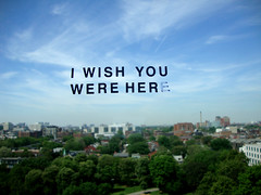 i wish you were her(e) (vazelodian) Tags: blue trees sky toronto clouds buildings words view letters stickers aerial ocad ontariocollegeofartanddesign