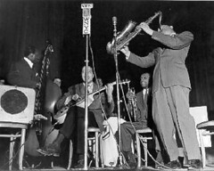 Lester Young band performing at the 2nd annual WNYC American Music Festival, February 1941. (La Guardia and Wagner Archives) Tags: jazz laguardia fiorellolaguardia johncollins docwatson wnyc fiorello lesteryoung thelittleflower mayorlaguardia shadcollins nickfenton