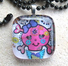 Girly Skull and Crossbones- Glass Pendant with Black Ball Chain (BeansThings) Tags: pink flowers glass girl face smiling rock square skeleton fun happy necklace punk girly feminine goth teen bow tween spunky pendant skullandcrossbones beanthings peacesymbols beansthings