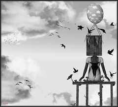 Birds in my mind... ([Ljus] Patricia vs NatG) Tags: bw birds avatar balloon sl dreams needs sly feelings yip